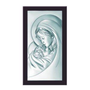Obrazek srebrny Matki Bożej w drewnianej ramie 10×19 cm