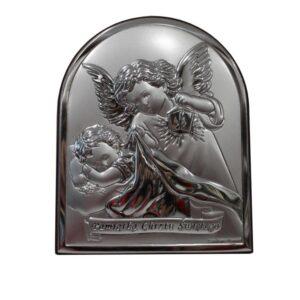 Obrazek srebrny – Aniołek z latarenką czuwający
