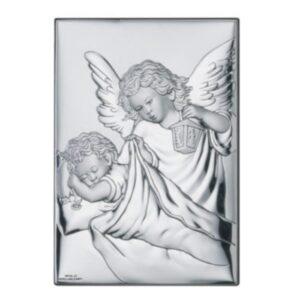 Obrazek srebrny – Aniołek z latarenką 9×13 cm
