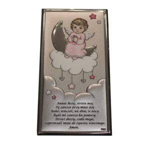 Anioł Stróż obrazek srebrny dla dziewczynki