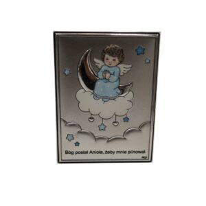 Anioł Stróż obrazek srebrny dla chłopca