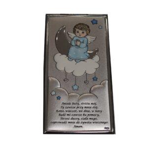 Aniołek obrazek srebrny dla chłopca