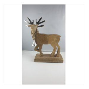 Renifer drewniana figurka z dzwonkiem