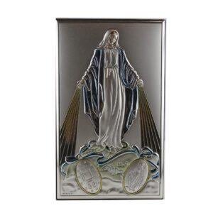 Srebrny obrazek z wizerunkiem Matki Bożej Niepokalanej