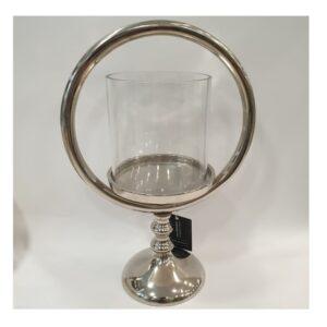 Świecznik ozdobny srebrny metalowy