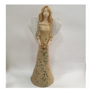 Anioł szamotowy szkliwiony z kwiatkami