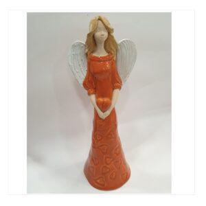 Anioł szamotowy szkliwiony z sercem