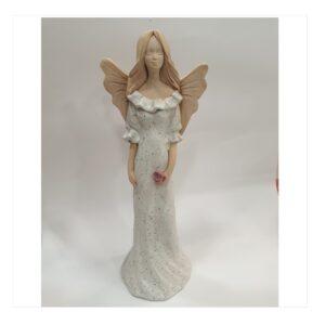 Anioł szamotowy szkliwiony z różą