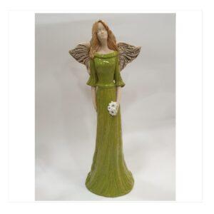 Anioł szamotowy szkliwiony z kwiatkiem