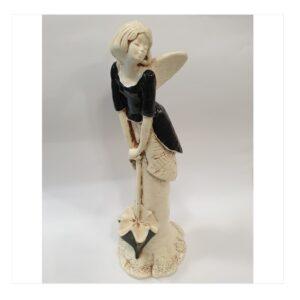 Anioł kobieta gipsowy z parasolką