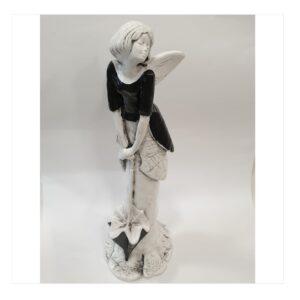 Anioł kobieta gipsowy z parasolką w czarnej sukience