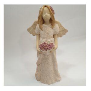 Anioł szamotowy w sukni z kwiatkami