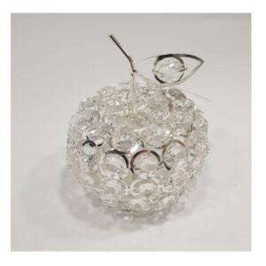 Dekoracja Jabłko z akrylowych oczek w srebrnym splocie
