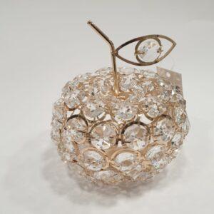 Dekoracja Jabłko z akrylowych oczek w złotym splocie
