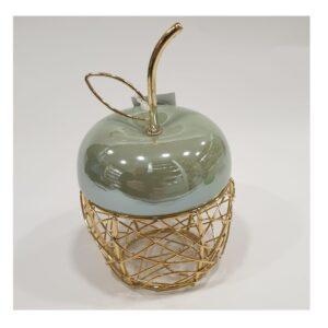 Jabłko  ceramika w złotym koszyczku